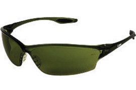 Crews® Law® 2 Safety Glasses With Green Nylon Frame, Filter 5.0 Polycarbonate Duramass® Anti-Scratch Lens And TPR Nose Pad And Black Temple Sleeve