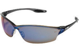Crews® Law® 2 Safety Glasses With Smoke Nylon Frame, Blue Mirror Polycarbonate Duramass® Anti-Scratch Lens And TPR Nose Pad And Black Temple Sleeve