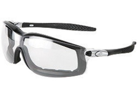 MCR Safety® Rattler™ Black Safety Glasses With Clear Anti-Fog/Anti-Scratch Lens And Interchangeable Ratcheting Bayonet Temples