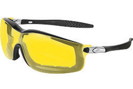Crews® Rattler™ Safety Glasses With Black Nylon Frame, Amber Polycarbonate Duramass® Anti-Fog Anti-Scratch Lens And Adjustable Head Band