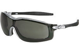 Crews® Rattler™ Safety Glasses With Silver Nylon Frame, Gray Polycarbonate Duramass® Anti-Fog Anti-Scratch Lens And Adjustable Head Band