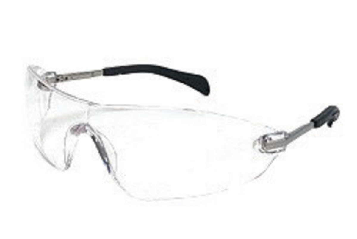 crews blackjack elite small safety glasses with metal chrome frame and clear polycarbonate duramass