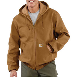 Carhartt® X-Large Regular Brown Polyester Thermal Lined 12 Ounce Heavy Weight Cotton Duck Active Jacket With Front Zipper Closure Triple-Stitched Seams (2) Large Hand-Warmer Pockets, (2) Inside Pockets And Attached Hood