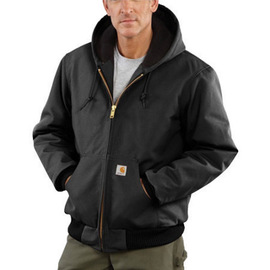 Carhartt® X-Large Tall Black Flannel Quilt Body Nylon Quilt Sleeves Lined 12 Ounce Heavy Weight Cotton Duck Active Jacket With Front Zipper Closure Triple-Stitched Seams (2) Lower Front Pockets And (2) Inside Pockets