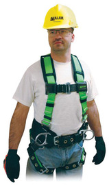 """Miller® by Honeywell Small/Medium Contractor/Full Body Style Harness With Back D-Ring, Friction Shoulder Strap Buckle, Mating Chest Strap Buckle, Tongue Leg Strap Buckle And D-Ring Pad/Shoulder Pad/Side D-Ring/Pull-Free Lanyard Ring/Belt Loop/4 1/2"""" Belt 