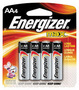 Energizer® Eveready® MAX® 1.5 Volt AA Alkaline Battery With Flat Contact Terminal (4 Per Card)