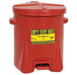 Eagle 6 Gallon Red HDPE Oily Waste Can With Self-Closing Lid