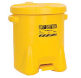 Eagle 14 Gallon Yellow HDPE Oily Waste Can With Self-Closing Lid