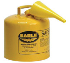 Eagle 5 Gallon Yellow 24 Gauge Galvanized Steel Type I Safety Can With Non-Sparking Flame Arrestor And F-15 Funnel