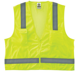Ergodyne Small - Medium Lime GloWear® 8249Z Polyester/Polyester Mesh Economy Surveyor Vest With Mesh Back