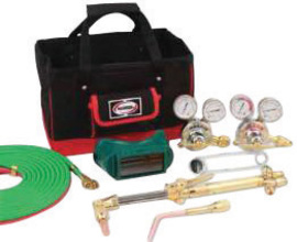 Harris® Model V315-450-510 Pipeliner® V-Series Deluxe Heavy Duty All Fuels/Acetylene/Oxygen Brazing/Cutting/Heating/Welding Outfit CGA-510 With Handle Equipped FlashGuard® Check Valves