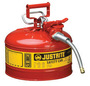 Justrite® 2 1/2 Gallon Red AccuFlow™ Galvanized Steel Type II Vented Safety Can With Stainless Steel Flame Arrester And 5/8