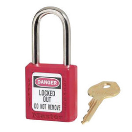 Red Thermoplastic Zenex™ Padlock (6 ea Keyed Different)