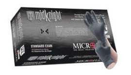 Ansell Large Black Microflex® MidKnight™ 4.7 mil Nitrile Medical Grade Powder-Free Disposable Gloves (100 Gloves Per Box)