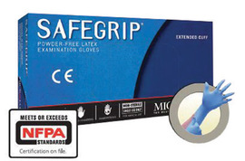 Ansell X-Large Blue Microflex® SafeGrip® 11.4 mil Latex Medical Grade Powder-Free Disposable Gloves (50 Gloves Per Box)