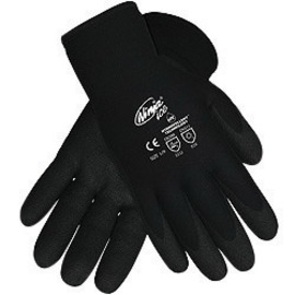 Memphis Glove Large Black Ninja® ICE 7 Gauge Acrylic Terry Lined General Purpose Cold Weather Gloves With Knit Wrist, 15 Gauge Nylon Shell And HPT Coated Palm And Fingertips