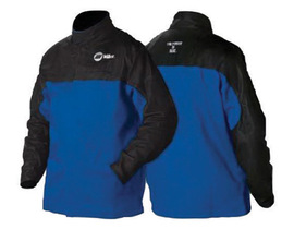 Miller® Large Royal Blue And Black Indura® Leather Flame Resistant Combo Jacket With Snap Button Closure And Kevlar® Thread