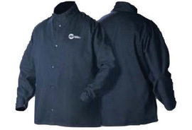 Miller® Large Navy 9 Ounce Cotton Flame Resistant Cloth Jacket With Snap Button Closure And Fold-in Snap Sleeves