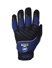 Miller® X-Large Black And Blue MetalWorker Full Finger Top Grain Leather Metal Working Mechanics Gloves With Neoprene Wrist/Velcro, Spandex Back, Reinforced Palm And Padded And Knuckle Patch