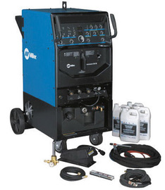 Miller® Syncrowave® 250 DX TIG Welder, 230/460/575 Volt With Coolmate™ 3x Cooler, Coolant, Running Gear, Remote Foot Control, Weldcraft® WP20 Water Cooled Torch Kit With 25' Cable, 15' Work Cable With Clamp, 10' Gas Hose, Regulator/Flow meter, Cable Cover And Torch Accessory Kit