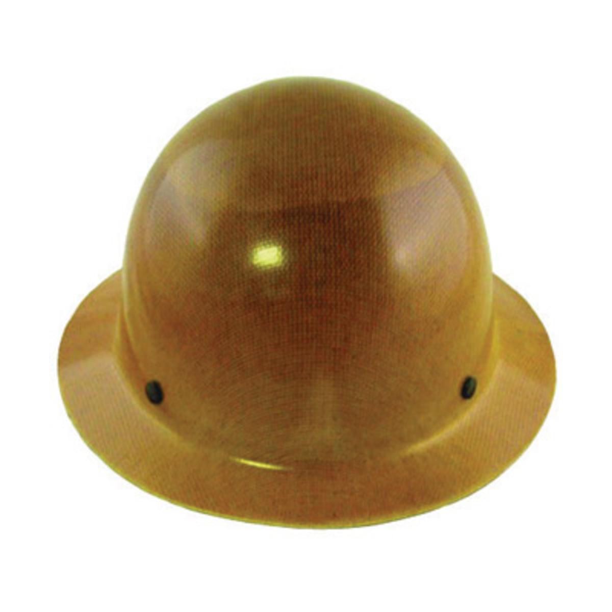 a5c6b8aa967 MSA Tan Phenolic Full Brim Hard Hat With 4 Point Ratchet Suspension