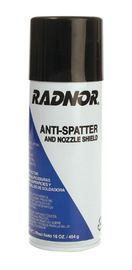 Can of RADNOR anti-spatter on white background.
