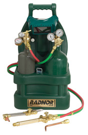 Radnor® Victor® Style Tote® Light-Duty Acetylene Brazing, Welding And Cutting Outfit With Cylinder Carrier And 20 cu ft Oxygen And MC Acetylene Cylinders ,CGA-200 (Gas Not Included)