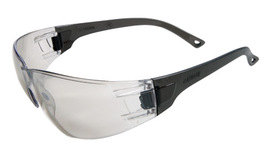 RADNOR® Classic Series Safety Glasses With Gray Frame And Clear Polycarbonate Anti-Scratch Indoor/Outdoor Lens