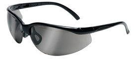 Radnor® Motion Series Safety Glasses With Black Frame, Silver Mirror Polycarbonate Lens With Scratch Resistant Coating And Adjustable Temples