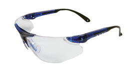 Radnor® Elite Series Safety Glasses With Blue Frame And Clear Indoor/Outdoor Lens