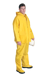 Radnor® X-Large Yellow .32 mm Polyester And PVC 3 Piece Rain Suit (Includes Jacket With Front Snap Closure, Detached Hood And Snap Fly Bib Pants)