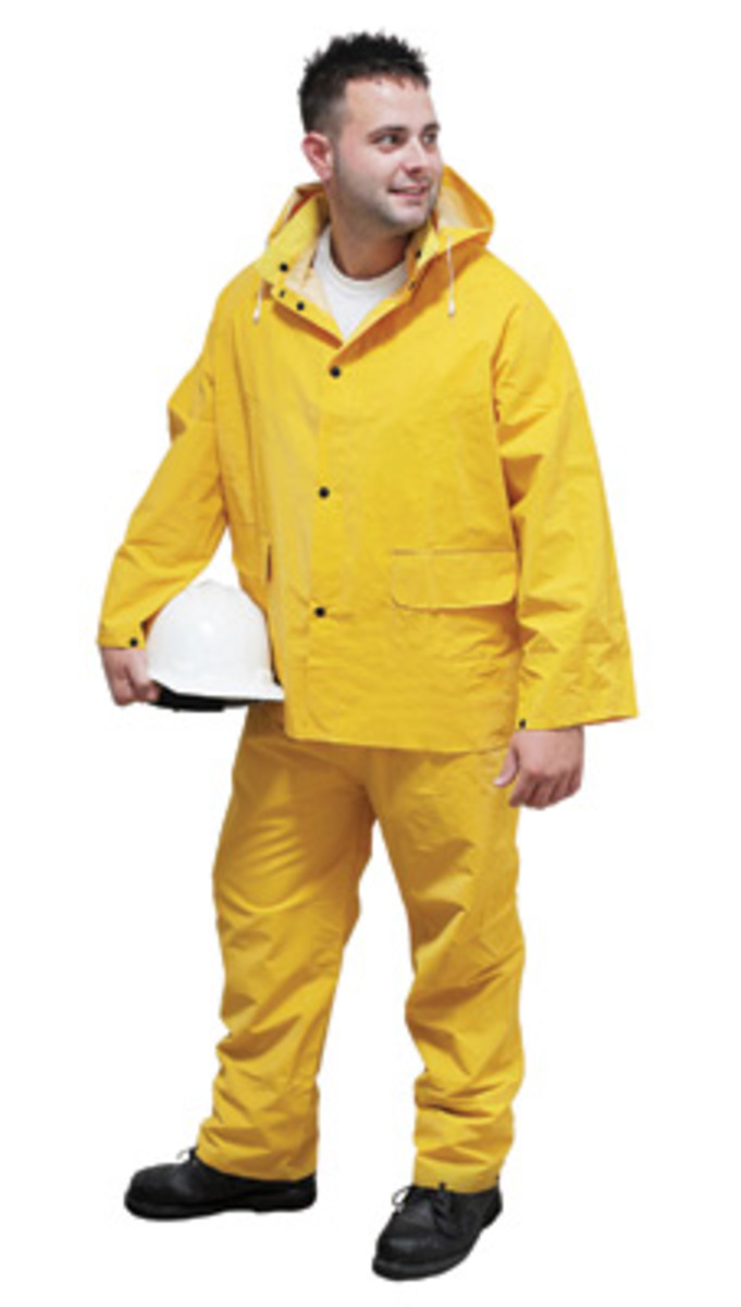 3-Piece Size 5X-Large 0.35 mm PVC//Polyester Yellow Rain Suit