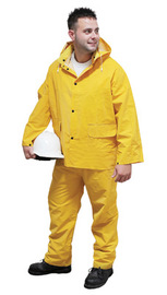 RADNOR® 2X Yellow .35 mm Polyester And PVC 3 Piece Rain Suit (Includes Jacket With Front Snap Closure, Detached Hood And Snap Fly Bib Pants)
