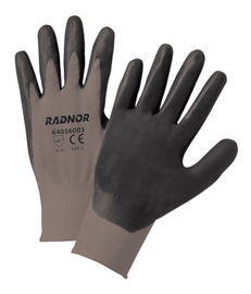 RADNOR® X-Large 13 Gauge Black Nitrile Palm And Finger Coated Work Gloves With Gray Nylon Liner And Knit Wrist