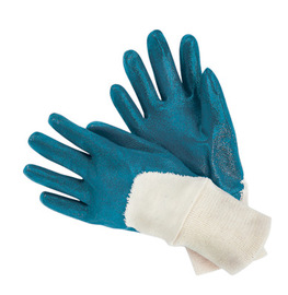 RADNOR® Medium Blue Nitrile Three-Quarter Coated Work Gloves With Natural Jersey Liner And Knit Wrist
