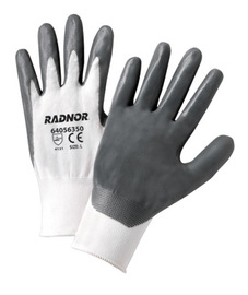 Radnor® Small 13 Gauge Gray Nitrile Laminated Fully Coated Work Gloves With White Nylon Liner And Knit Wrist