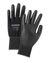 RADNOR® Large 13 Gauge Black Polyurethane Palm And Finger Coated Work Gloves With Black Nylon Liner And Knit Wrist