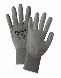 RADNOR® X-Large 13 Gauge Gray Polyurethane Palm And Finger Coated Work Gloves With Gray Nylon Liner And Knit Wrist