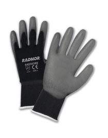 RADNOR® Medium 15 Gauge Gray Polyurethane Palm And Finger Coated Work Gloves With Black Nylon Liner And Knit Wrist