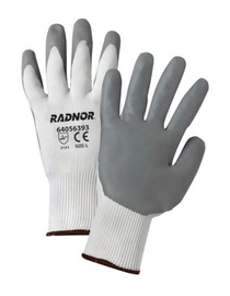RADNOR® X-Small 15 Gauge Gray Nitrile Palm And Finger Coated Work Gloves With White Nylon Liner And Knit Wrist
