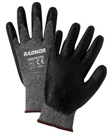 Radnor® Large 15 Gauge Black Nitrile Palm Coated Work Gloves With Salt & Pepper Nylon Liner And Knit Wrist