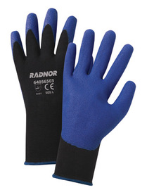 RADNOR® X-Large 15 Gauge Blue PVC Palm And Finger Coated Work Gloves With Black Nylon Knit Liner And Knit Wrist