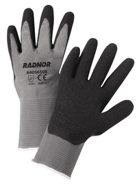 RADNOR® Large 13 Gauge Black Latex Palm And Finger Coated Work Gloves With Gray Seamless Knit Liner And Knit Wrist