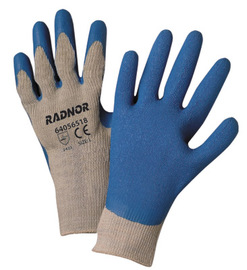 RADNOR® Medium 10 Gauge Blue Latex Palm And Finger Coated Work Gloves With Gray Cotton And Polyester Liner And Knit Wrist