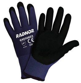 Radnor® Large 15 Gauge Nitrile/Micro-Foam Palm Coated Work Gloves With Nylon Liner And Knit Wrist