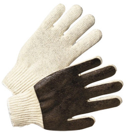 Radnor® Ladies 7 Gauge Natural PVC Palm Coated Work Gloves With Brown Cotton/Polyester Liner And Knit Wrist