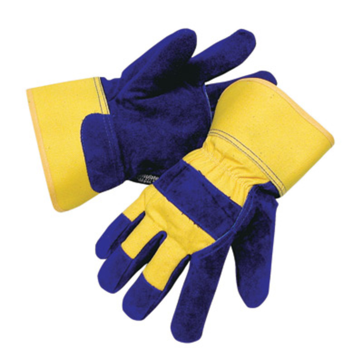 Leather work gloves with thinsulate lining - Radnor Large Blue And Yellow Canvas And Leather Thinsulate Lined Cold Weather Gloves