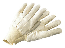 Radnor® Men's White 10 Ounce Cotton/Polyester Blend Cotton Canvas Gloves With Knitwrist