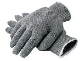 RADNOR® Gray Large Heavy Weight Cotton And Polyester Seamless Knit General Purpose Gloves With Knit Wrist