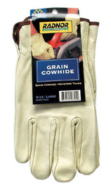 RADNOR® Large White Premium Grain Cowhide Unlined Drivers Gloves